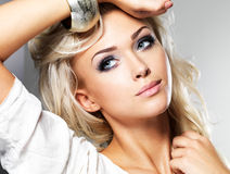 Beautiful woman with style makeup. Stock Image