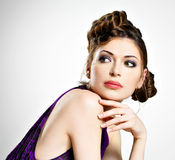 Beautiful  woman with stylish hairstyle with pigtails design Royalty Free Stock Images