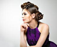 Beautiful  woman with stylish hairstyle with pigtails design Royalty Free Stock Photo