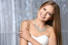 Beautiful woman with stylish jewelry royalty free stock image