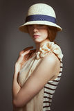 Beautiful woman in a stylish retro suit Royalty Free Stock Photo