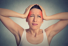 Beautiful woman suffering from head ache Stock Photos