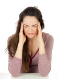 Beautiful woman suffering from headache Stock Images