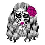 Beautiful woman with sugar skull makeup. Mexican Catrina skull Royalty Free Stock Image