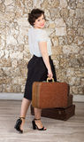 Beautiful woman with suitcases Royalty Free Stock Photo
