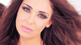 Beautiful woman with sultry eyes stock video footage