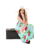 Beautiful woman in summer dress with hat, case and money Stock Photos