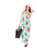 Beautiful woman in summer dress with hat and case Royalty Free Stock Photo