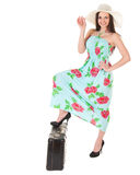 Beautiful woman in summer dress with hat and case Stock Photography