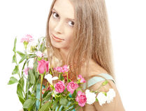 Beautiful woman with summer flowers Stock Photography