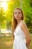 Beautiful woman in the summer park Royalty Free Stock Photo