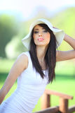 Beautiful  woman in summer park. Royalty Free Stock Photography