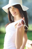 Beautiful  woman in summer park. Stock Photography