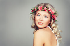 Beautiful Woman with Summer Pink Flowers. Blonde Beauty Royalty Free Stock Images