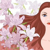 Beautiful woman. And summer tender flowers stock illustration