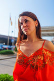 Beautiful woman on sun stock image