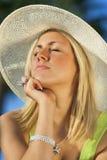 Beautiful Woman Sun Hat Tanning Stock Image