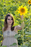 Beautiful woman in sunflower Royalty Free Stock Images