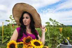 Beautiful woman in sunflower field Stock Images