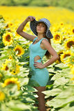 Beautiful woman with sunflower Royalty Free Stock Image