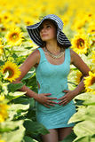 Beautiful woman with sunflower Royalty Free Stock Photography