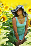 Beautiful woman with sunflower Royalty Free Stock Images