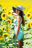 Beautiful woman with sunflower Royalty Free Stock Photos