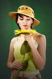 Beautiful  woman with sunflowers. Portrait of a beautiful  young woman with sunflower Royalty Free Stock Photos