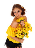 Beautiful woman with sunflowers. Stock Images