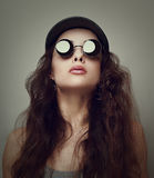 Beautiful woman in sunglasses. Closeup vintage Royalty Free Stock Photography