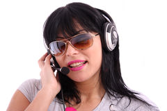 Beautiful  woman with sunglasses and headphone Royalty Free Stock Image