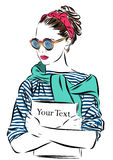 Beautiful woman in sunglasses with journal vector Royalty Free Stock Photography