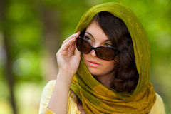Beautiful woman with sunglasses outdoor Stock Image