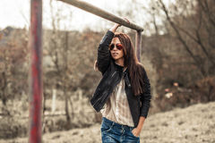 Beautiful woman in sunglasses - outdoor fashion partrait Stock Images