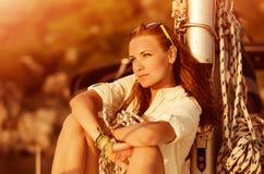 Beautiful woman on sunset Royalty Free Stock Image