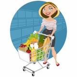 Beautiful woman at supermarket Royalty Free Stock Photography