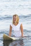 Beautiful woman with the surfboard Royalty Free Stock Photos