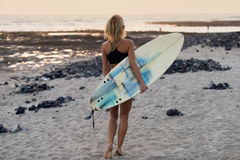 Beautiful woman with the surfboard Royalty Free Stock Image