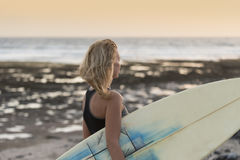 Beautiful woman with the surfboard Royalty Free Stock Photo