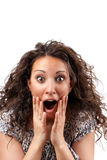 Beautiful woman with surprise face Stock Photography