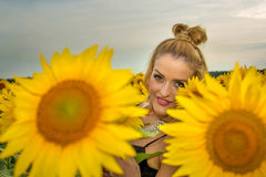 Beautiful woman surrounded by sunflowers Stock Images