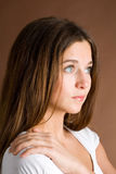 Beautiful woman in suspense Royalty Free Stock Photo