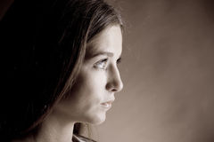 Beautiful woman in suspense Royalty Free Stock Photography