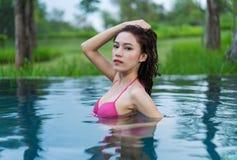 Woman in swimming pool. Beautiful woman in swimming pool Stock Photos