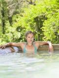 Beautiful Woman In Swimming Pool Stock Photo
