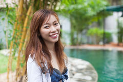 Beautiful Woman Swimming Pool At Resort Relaxed Portrait Young Asian Girl Happy Smile Royalty Free Stock Photo