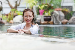 Beautiful Woman Swimming Pool At Resort Relaxed Portrait Young Asian Girl Happy Smile Stock Image