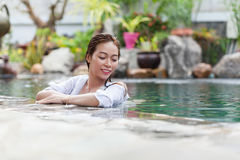 Beautiful Woman Swimming Pool At Resort Relaxed Portrait Young Asian Girl Happy Smile Stock Photo