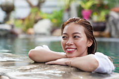 Beautiful Woman Swimming Pool At Resort Relaxed Portrait Young Asian Girl Happy Smile Royalty Free Stock Photos