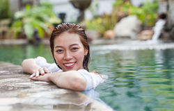 Beautiful Woman Swimming Pool At Resort Relaxed Portrait Young Asian Girl Happy Smile Stock Photography